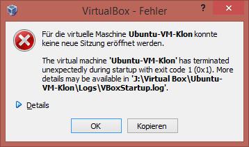 VirtualBox Fehler