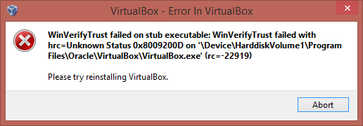 VirtualBox Error